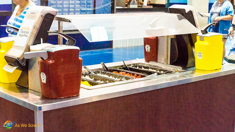 The 'Fixings Station' for hot dogs and other stadium snacks