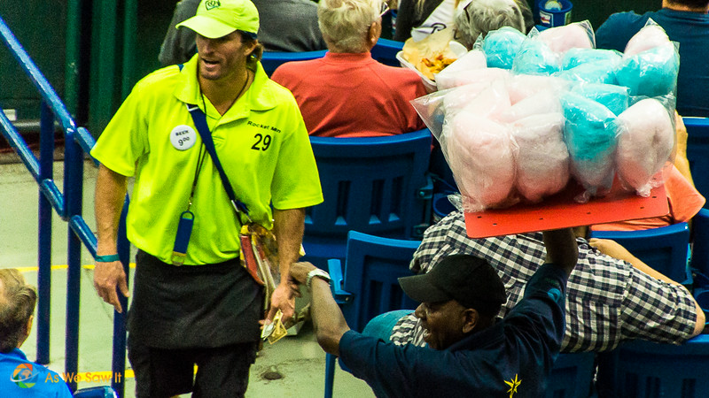 Cotton candy vendor in the stands