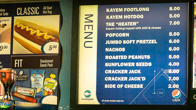 Menu at a baseball stadium snack stand