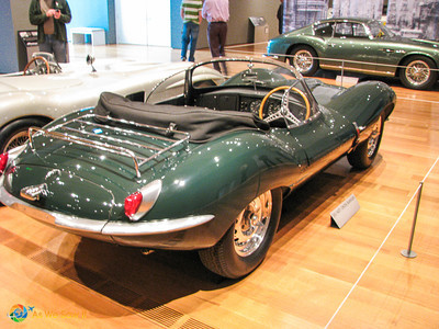 Rear view of 1957 Jaguar XK-SS Roadster, formerly owned by Steve McQueen