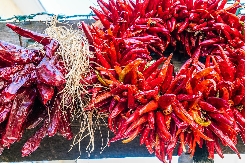 red new mexico chilies drying in winter
