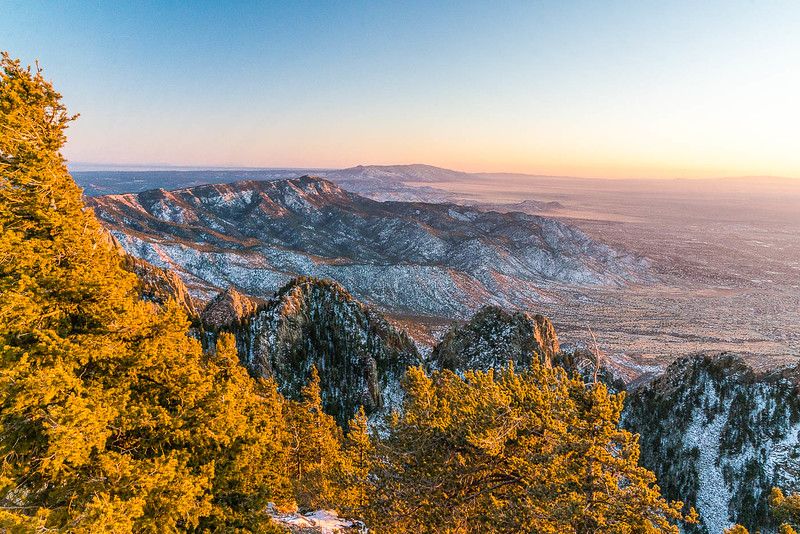 sunset from the top of sandia mountain