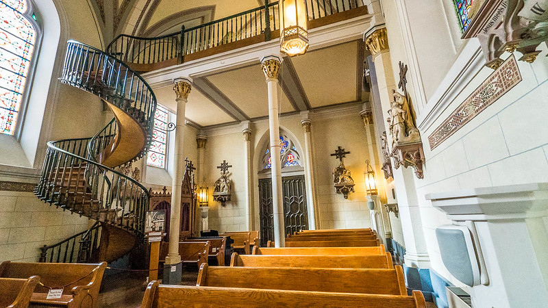 Staircase and interior of Loretto Chapel