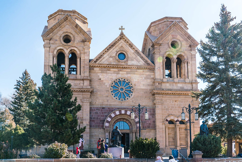 Front of the Cathedral Basilica of Saint Francis of Assisi in Santa Fe New Mexico