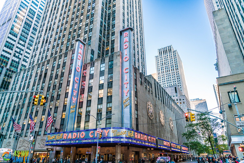 New York City and the famous radio city music hall