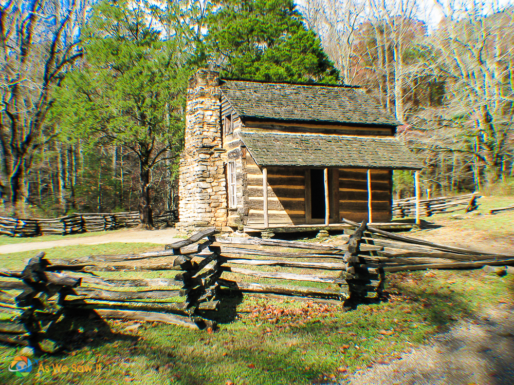 Cabin at Cades Cove. Split rail fence in foreground