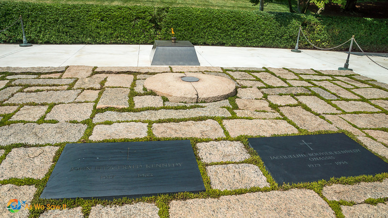 Eternal flame and gravesite of President John F. Kennedy and his wife Jacqueline.