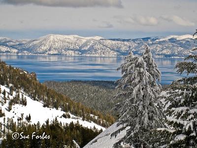 Snowy Lake Tahoe Snowy mountains around Lake Tahoe from Alpine Meadows, California