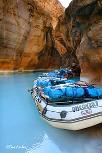 Rafts at Havasu Creek, Grand Canyon Rafts on the mineral rich Havasu Creek, mile 157 of Colorado River through the Grand Canyon, AZ