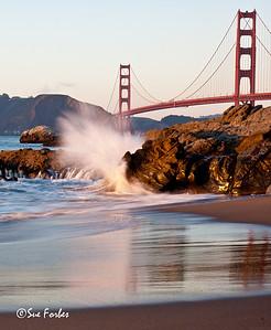 Golden Gate Bridge  Golden Gate Bridge, San Francisco, from Baker Beach at sunset