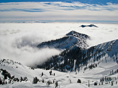 Valley Fog Fog in Mineral Basin at Snowbird, Little Cottonwood Canyon, Utah