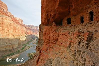 Nankoweap Granaries AD 1100 puebloan granaries at Nankoweap, mile 53 or Grand Canyon Colorado River, AZ