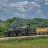 Union Pacific's Big Boy steam locomotive 4014 roars through the Minnesota countryside