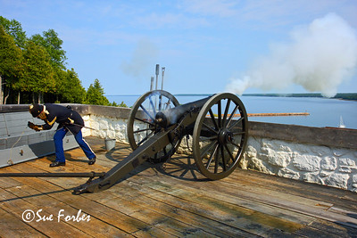 Firing of Fort Mackinac Cannon Cannon being fired at Fort Mackinac, Mackinac Island, Michigan