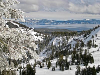 Lake Tahoe in Winter Snowy scene of Lake Tahoe from Alpine Meadows, California