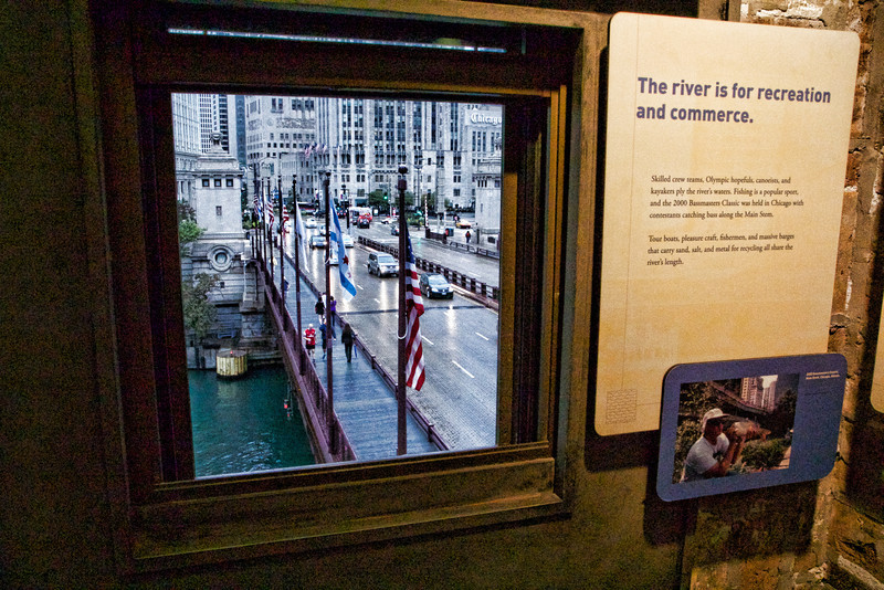 The view of the Michigan Ave. bridge from the Bridgehouse museum