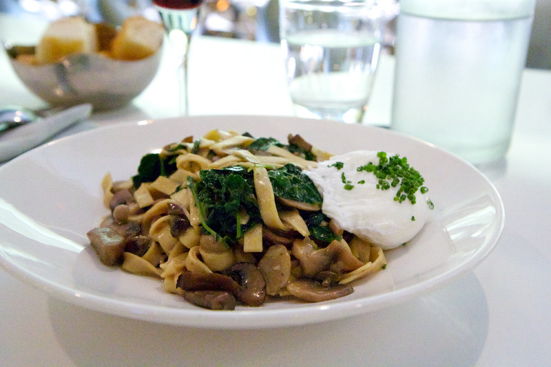 My porcini fettuccine with kale and a poached egg at Filini Restaurant