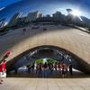 "Cloudgate Sculpture - the sculpture is nicknamed ""The Bean"" because of its bean-like shape. Made up of 168 stainless steel plates welded together, its highly polished exterior has no visible seams. It is 33 by 66 by 42 feet (10 by 20 by 13 m), and weighs 110 short tons"
