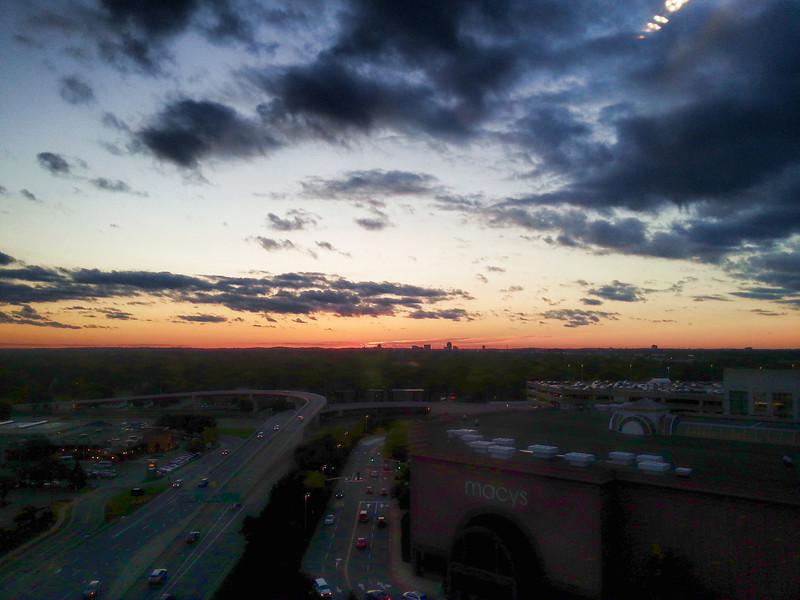 Sunset over the Land of 10,000 Lakes - from my room at the Radisson Blu MOA