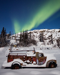 Abandoned Truck under the Aurora