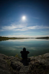 Moon Halo, Yellowknife River. Fall 2014. Self-portrait.