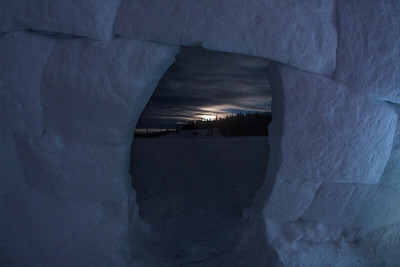 View of night sky from igloo, Yellowknife