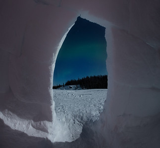 View of Aurora Borealis from igloo, Yellowknife