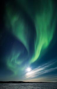 Aurora and full moon, Yellowknife