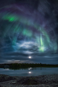 Aurora and moon halo, Yellowknife River. Fall 2014.