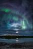 Aurora and moon halo, Yellowknife River. Fall 2014.