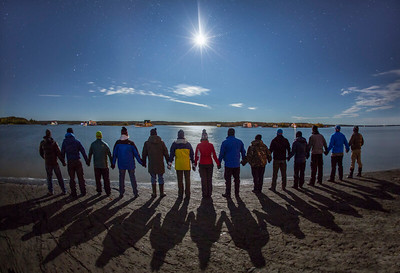 Creative group portrait, Great Slave Lake, Nights of Wonder workshop co-led with Dave Brosha, Yellowknife, Fall 2014.