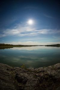 Moon Halo, Yellowknife River. Fall 2014.