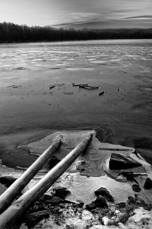 Frozen lake during the long, cold Norwegian winter.  Oslo, Norway, 2012.