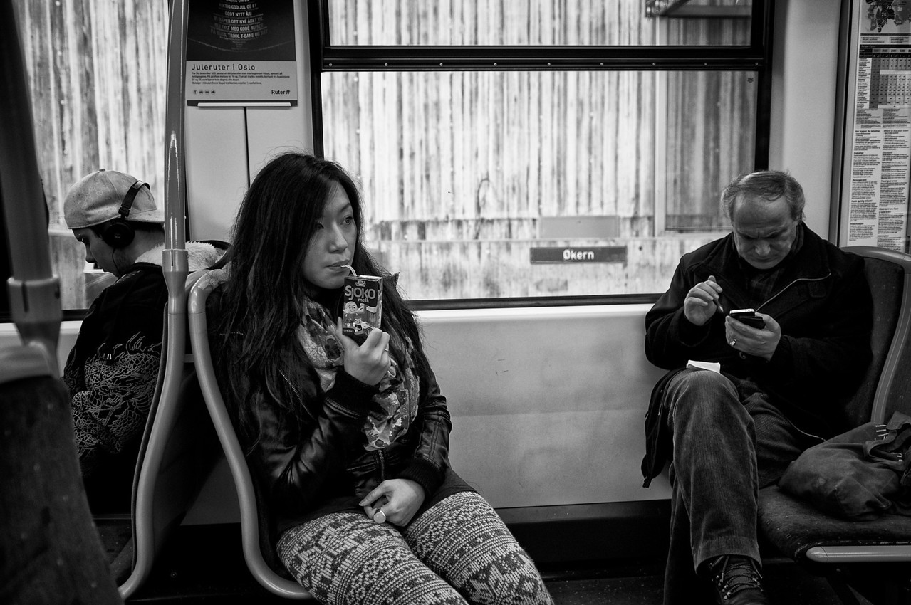 People in the tram.<br /> <br /> Oslo, Norway, 2012.