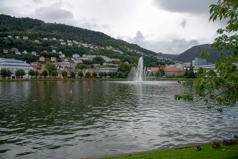 Lille Lungegårdsvannet or Smålungeren is a small 5 acres lake in the centre of the city of Bergen in Hordaland county, Norway. The octagonal lake is a natural lake that was historically connected to the nearby Store Lungegårdsvannet bay via a short strait, but the strait was filled-in in 1926. Today the lake is located in a park, in the city centre. There is a large decorative fountain located in the central part of the lake.