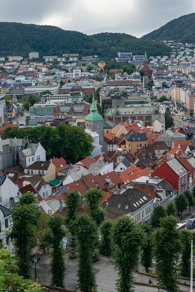 Lovely view of Bergen Old Town, and City Centre in Norway seen from Skansens Bataljon & Skanseguttenes Forening.