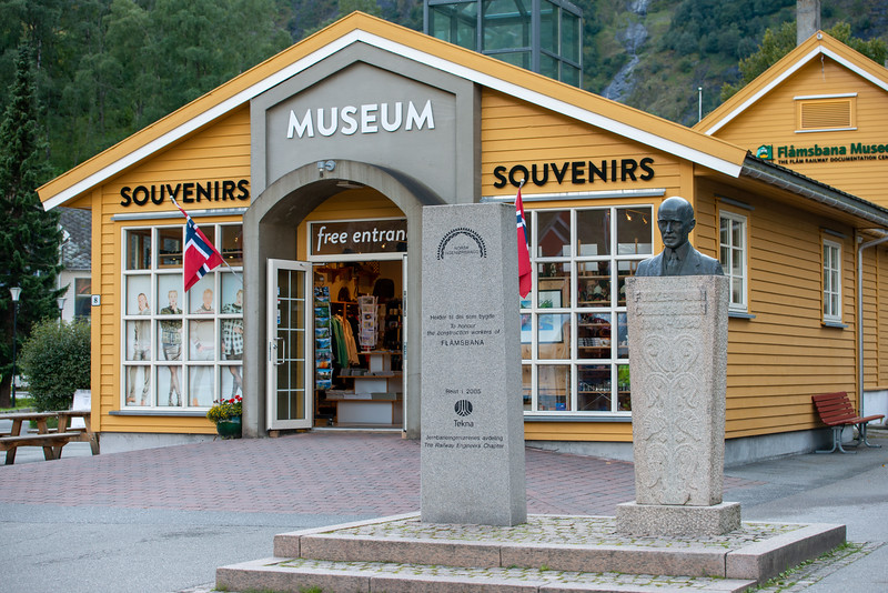 Flam Railway Museum (<br /> Flåmsbana Museet). A former rail station building in Flåm now houses a museum dedicated to the Flåm railway. Flåm is a village in Flåmsdalen, at the inner end of the Aurlandsfjorden—a branch of Sognefjorden. The village is located in the municipality of Aurland in Sogn og Fjordane county, Norway.