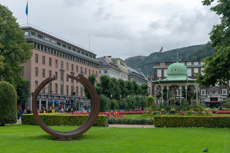 Musikkpaviljongen. The music pavilion is located in Bergen City Park, Norway. The pavilion was bought as a set of cast iron castings and given to the municipality of Bergen by businessman and consul FG Gade (1830-1904).