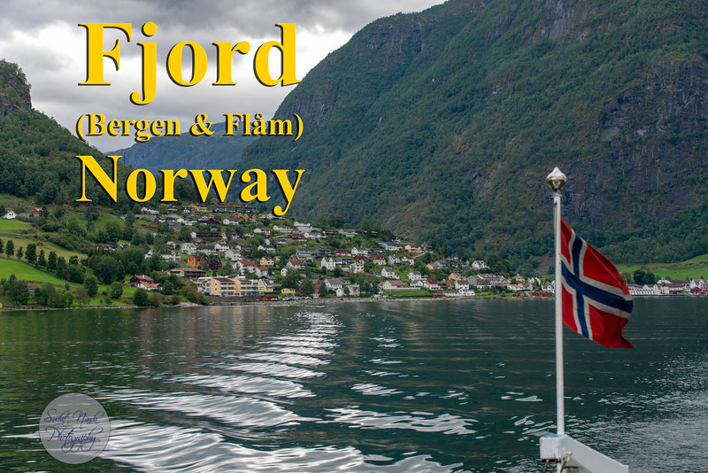 Fjord (Bergen & Flam), Norway.<br /> A fjord is a deep, narrow and elongated sea or lakedrain, with steep land on three sides.