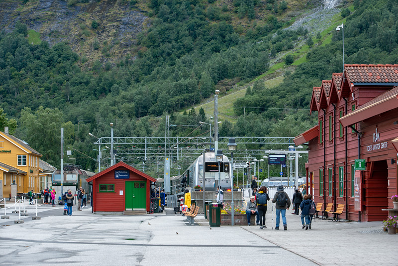 Flåm Line between Flåm and Myrdal, is one of the steepest railway tracks in the world. A former rail station building in Flåm now houses a museum dedicated to the Flåm railway. The village of Flåm has been a tourist destination and currently receives almost 450,000 visitors a year with many riding the 20-kilometre (12 mi) Flåm Line.<br /> <br /> Flåm is a village in Flåmsdalen, at the inner end of the Aurlandsfjorden, Aurland, in Sogn og Fjordane county, Norway.