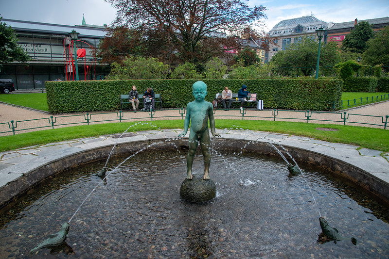 Naked boy statue in the park in City Centre Bergen, Norway. Bergen, historically called Bjørgvin, is a city as well as municipality in Hordaland on the west coast of Norway.