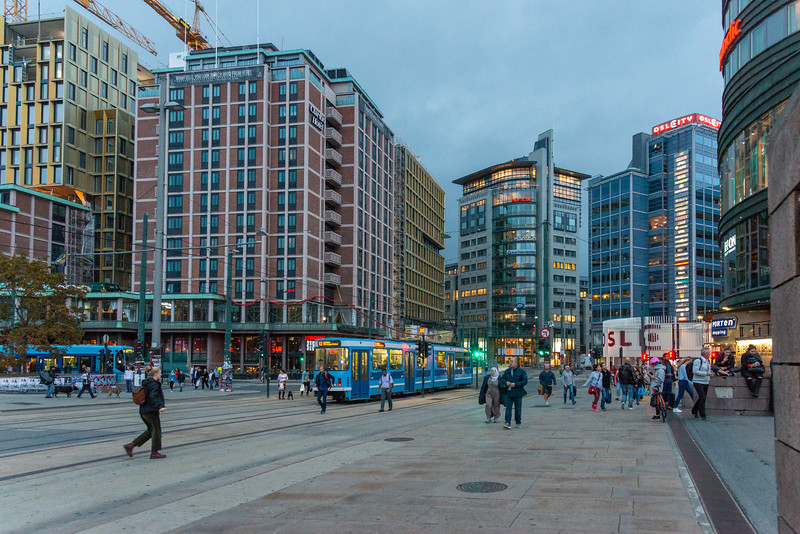 Street view at Oslo Central Station, Oslo, Norway. Major rail station serving destinations around the country, plus an on-site tourist information.
