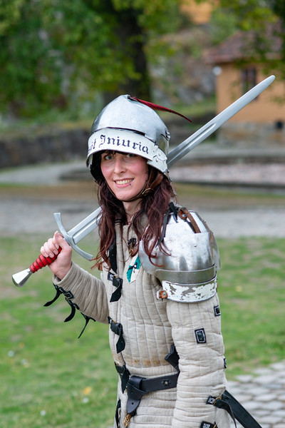 Portrait of Viking warriors at Akershus Fortress (Akershus Festning), Oslo, Norway, Scandinavia. The fortress was originally construct in the 13th century, this fort contains 2 military museums & hosts events.