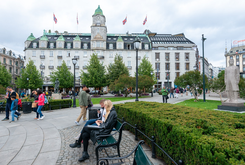 Grand Hotel Oslo near Norwegian Parliament, Government building, <br /> Stortinget, Oslo, Norway.