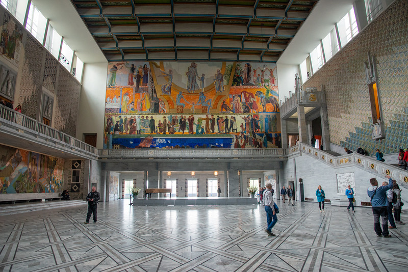 Inside the Oslo City Hall, Rådhusplassen, Oslo, Norway. Oslo City Hall was officially opened on 15 May 1950, as part of the city's 900-year anniversary. Three musical compositions were written in connection with the celebrations, written by Ludvig Irgens-Jensen, Eivind Groven and Karl Andersen.