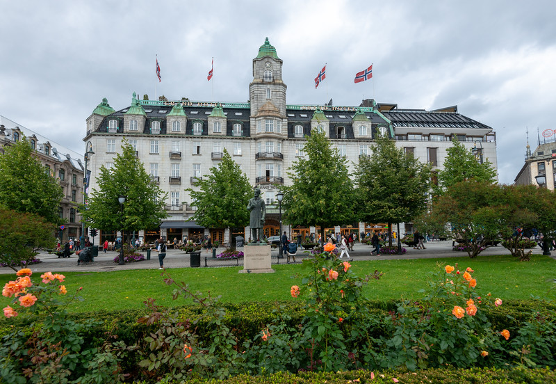 The Grand Hotel Oslo near Norwegian Parliament, Government building, <br /> Stortinget, Oslo, Norway.