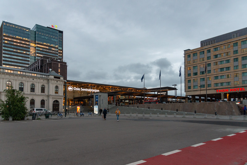 Entrance to Oslo Central Station, Oslo, Norway. The station is a major rail station serving destinations around the country, plus an on-site tourist information.