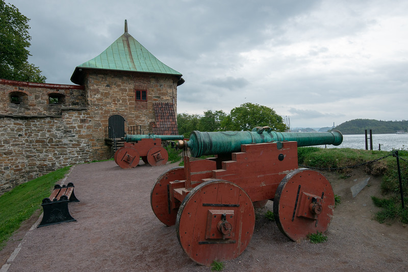 Cannons at Akershus Fortress (Akershus Festning), Oslo, Norway, Scandinavia.<br /> Originally construct in the 13th century, this fort contains 2 military museums & hosts events.