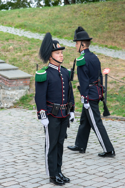 Soldiers at Akershus Fortress (Akershus Festning), Oslo, Norway, Scandinavia.<br /> Originally construct in the 13th century, this fort contains 2 military museums & hosts events.