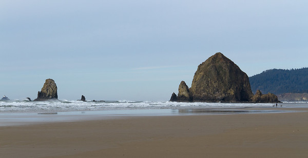 The Needles and Haystack Rock, Cannon Beach, OR.  Tillamook Rock Lighthouse in the distance on far left of the image.